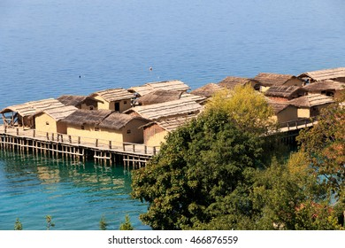 Republic of Macedonia, Ohrid and Lake Ohrid,are both a UNESCO World Heritage, culturally and a Natural site. Plocha Michov Grad, Underwater Museum at Bay of Bones. - Shutterstock ID 466876559