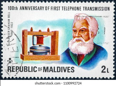 REPUBLIC OF MALDIVES - CIRCA 1998: A stamp printed in Maldives  shows Alexander Graham Bell