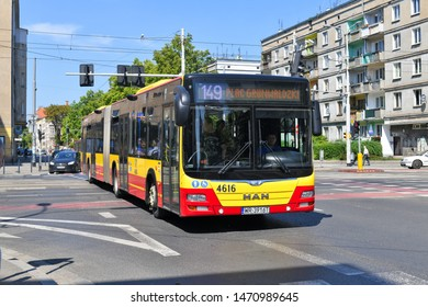 Wrocław, Republic of Poland - May 19, 2019: City bus on the route.