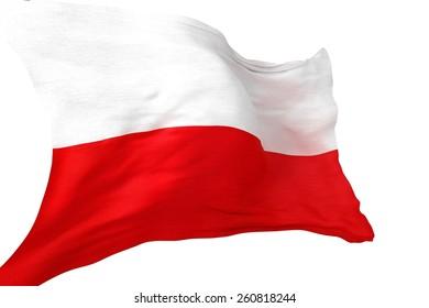 Republic of Poland National Flag 3D Render Illustration Isolated on White.