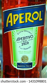 REPUBLIC OF SAN MARINO 05 24 2019: Bottle of Aperol Spritz is an aperitif cocktail consisting of prosecco, Aperol and soda water. Today Aperol Spritz ranks 9th on the list of the world's best selling