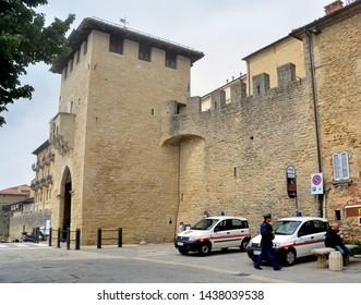 """REPUBLIC OF SAN MARINO 05 24 2019: San Francesco Gate or """"City Gate"""" (known in Italian as Porta San Francesco, Porto del Lucho or Porta del Loco) is the city gate of San Marino."""