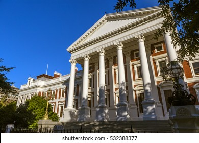 Republic of South Africa. Cape Town (Kaapstad). Facade of parliament building in a Neoclassical design, Cape Dutch architecture