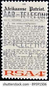 REPUBLIC OF SOUTH AFRICA - CIRCA 1975: A stamp printed in Republic of South Africa shows newspaper Arikaanse Partiot, circa 1975
