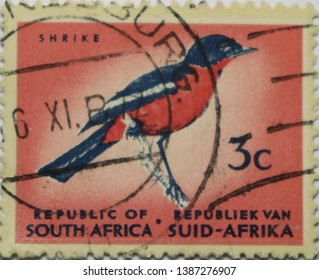 REPUBLIC OF SOUTH AFRICA - CIRCA 1980: shrike on old canceled 3c postage stamp Red breasted bird - Stock image Animal, Bird