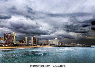 Republic of South Africa. Durban, KwaZulu-Natal. The Golden Mile - Durban's Beachfront Promenade and coastline