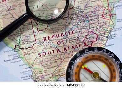 Republic of South Africa on the map of the world or atlas.