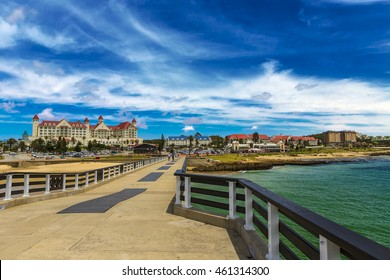 Republic of South Africa. Port Elizabeth (The Bay, Die Baai, Windy City) beachfront - 137m long Shark Rock Pier and Hobie Beach