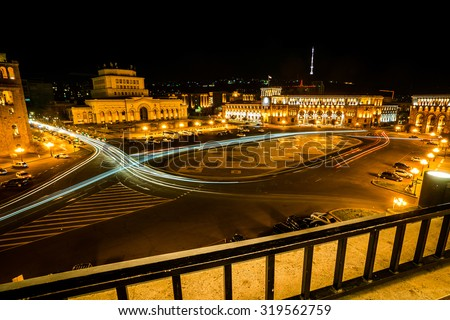 Republic square at night, Yerevan, Armenia