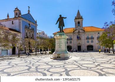 Republic Square (Praca da Republica) in Aveiro. The tree-lined Praca da Republica is at the heart of city life in Aveiro, Portugal.