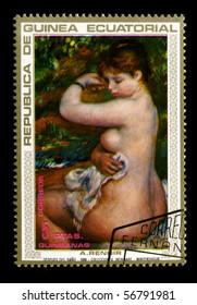 REPUBLICA DE GUINEA ECUATORIAL - CIRCA 1973: A stamp printed in REPUBLICA DE GUINEA ECUATORIAL shows paint by Pierre-Auguste Renoir circa 1973.