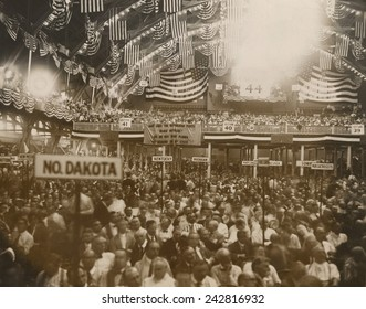 Republican Convention in Chicago, June 1920. In the background, a National Women's Party banner reads, 'Why does the Republican Party Block suffrage?' Tennessee legislature became the 36th state.