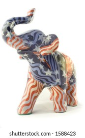 Republican Elephant with American Flag Pattern