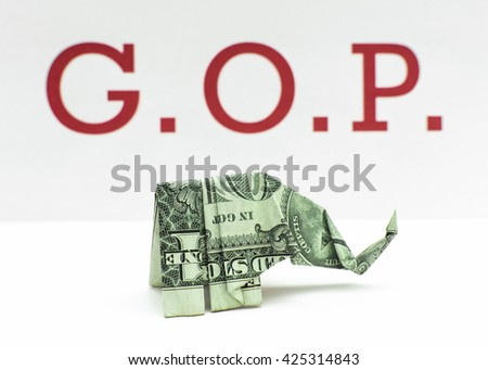 Republican Money Origami Elephant Made Dollar Stock Photo Edit Now