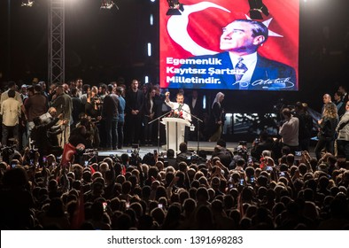 Republican People's Party (CHP) Istanbul mayoral candidate Ekrem Imamoglu, after the cancellation of the municipal elections in Istanbul held a rally. 6 MAY 2019 Turkey at Istanbul
