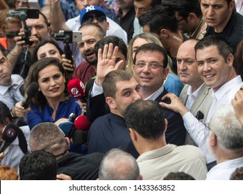 Republican People's Party (CHP) Istanbul Mayor candidate Ekrem Imamoglu and his wife Dilek Imamoglu voted. The elections were re-held. He gave Turkey a democracy test. 23 UNE 2019 istanbul at TURKEY