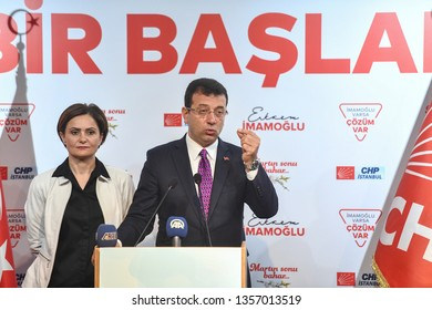 The Republican People's Party (CHP) led the alliance's Istanbul candidate Ekrem Imamoglu, said at a press conference in Istanbul announced that victory. 31 march 2019 Istanbul at Turkey