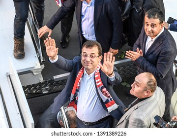 Republican People's Party Istanbul mayor candidate Ekrem Imamoglu addresses supporters in Istanbul. Erdogan's party,wanted the elections to be invalid. 16 APRIL 2019 Turkey at Istanbul
