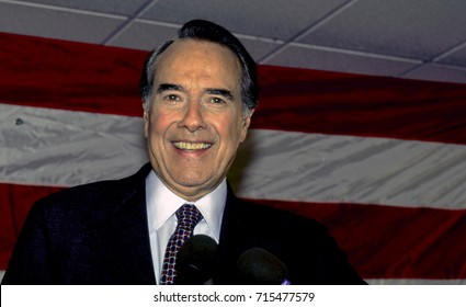 Republican Presidential candidate Senator Robert Dole of Kansas delivers his stump speech to members of the Republican party during a brief campaign stop in Gaithersburg, Maryland, March 3 1996.
