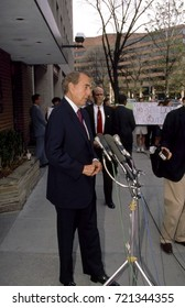"Republican presidential candidate Senator Robert Dole of Kansas talks with reporters  after his appearance on the  CBS Sunday morning talk show ""Face The Nation"" Washington DC., March 3, 1996."