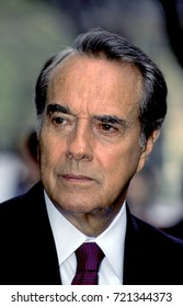 """Republican presidential candidate Senator Robert Dole of Kansas talks with reporters  after his appearance on the  CBS Sunday morning talk show """"Face The Nation"""" Washington DC., March 3, 1996."""