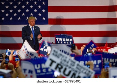 Republican presidential nominee Donald Trump arrives at a campaign rally in Newtown, PA, Friday, October 21, 2016.