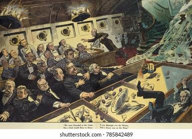 REPUBLICAN VOTERS REVOLT, political cartoon in Puck Magazine, April 20, 1910. A wave labeled Voters Revolt crashes into the dining room of a ship where Republicans are dining. Among those swamped are: