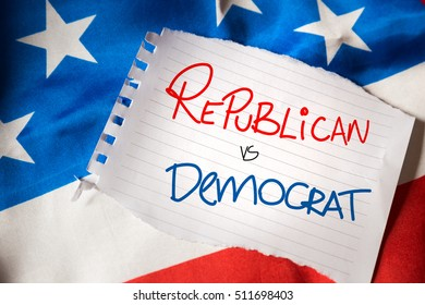 Republican x Democratic on notepaper and the US flag