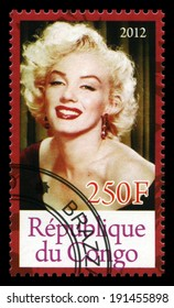 REPUBLIQUE DU CONGO - CIRCA 2012: A Postage Stamp from Congo depicting an image of legendary Hollywood actress Marilyn Monroe, circa 2012.