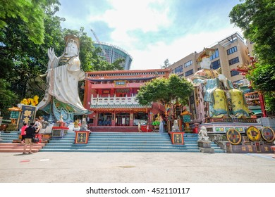 REPULSE BAY , HONG KONG - JULY1 : Guanyin Statue locate in the Shrine at the end of the Repulse bay beach Hong Kong on July 1 2016.