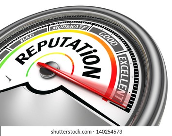 reputation conceptual meter, isolated on white background