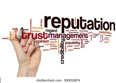 Reputation word cloud concept with crediblity brand related tags