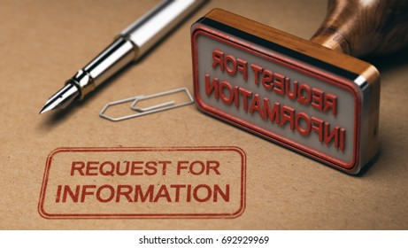 Request for information printed on a kraft envelop, with office supplies and rubber stamp, RFI concept. 3D illustration