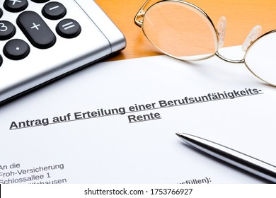 Request for occupational disability pension in germany: antrag berufsunfähigkeitsrente.