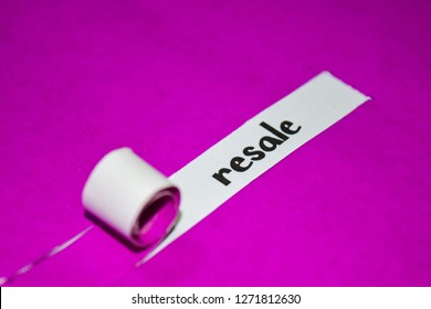 Resale text, Inspiration, Motivation and business concept on purple torn paper