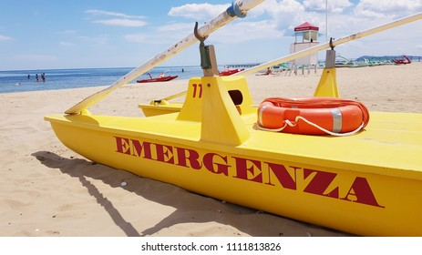 rescue boat on the beach