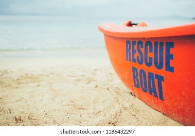 Rescue boat on the beach. Lifeguard, life boat, resecue, baywatch