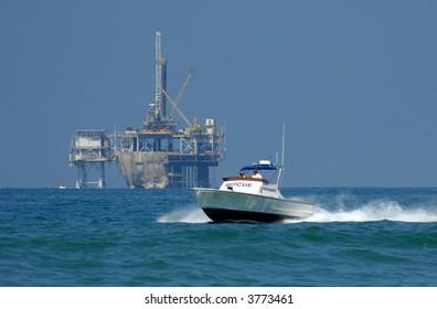 Rescue Boat Patrols Coast in Southern California