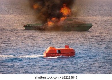 rescue boat performed demobilization passenger from supply boat because fire or worst case, Marine control contacting to rescue team or fire fighter team to help crews boat out of the bad location.