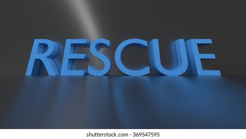 Rescue concept words - blue text on grey background.
