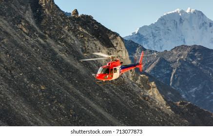 Rescue helicopter near Everest Base Camp - Everest region, Nepal, Homalayas