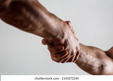 Rescue, helping gesture or hands. Concept of salvation. Teamwork and friendship. Closeup. Two hands, isolated arm, helping hand of a friend. Handshake, arms. Friendly handshake, friends greeting.