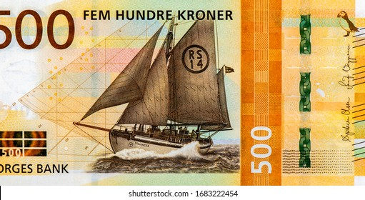 Rescue Lifeboat RS 14 Stavanger rescue lifeboat at sea, Portrait from Norway 500 Kroner 2018 Banknotes. An Old paper banknote, vintage retro. Famous ancient Banknotes. Collection.