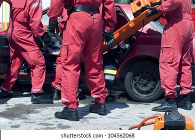 Rescue operation after a car crash