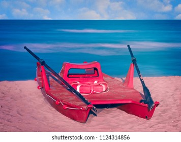 Rescue rowing boat on a beach