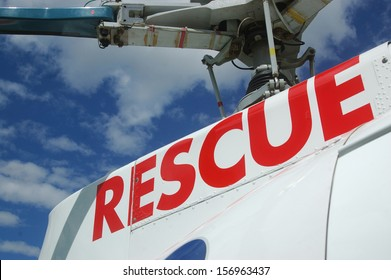 rescue signage on helicopter
