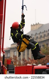 Rescue worker in action in the city