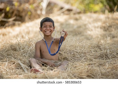 Rescuers boy in countryside