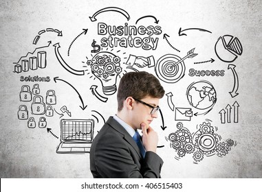 Research concept. Businessman with hand at chin thinking on business chart background