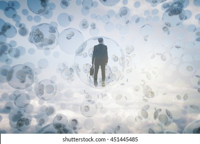 Research concept with businessman inside abstract bubbles in the sky